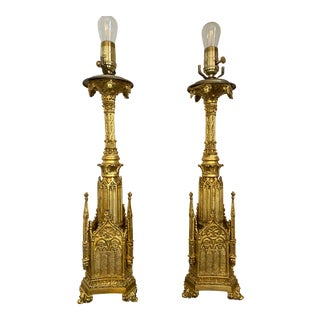 Antique Continental Gothic Candlestick Gilt Metal Lamps - a Pair For Sale