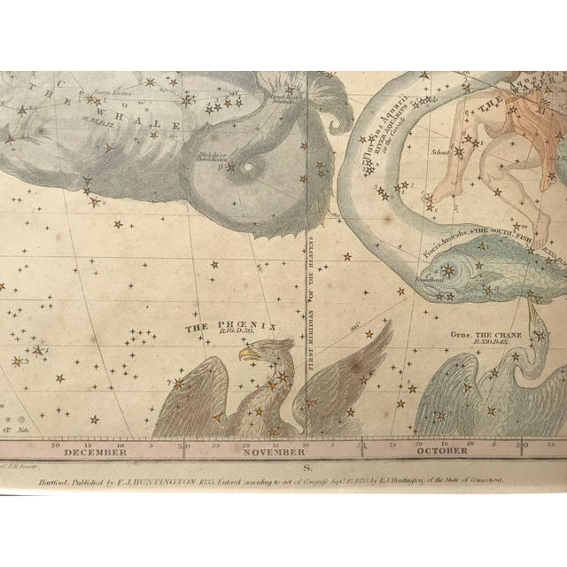 19th C. Antique Pair of Constellation Chart/ Celestial, Astrological Maps by Burrit 1835 For Sale - Image 11 of 13