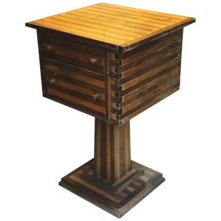 Early 20th Century Folk Art Side Table With Two Drawers For Sale