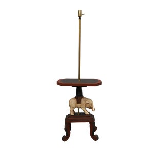 Floor Lamp and Table With Elephant Sculpture For Sale