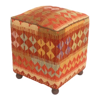 Boho Chic Michel Rust and Gold Kilim Upholstered Handmade Ottoman