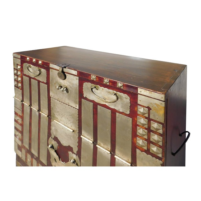 Vintage Korean Style Silver Hardware Trunk Cabinet For Sale - Image 4 of 7