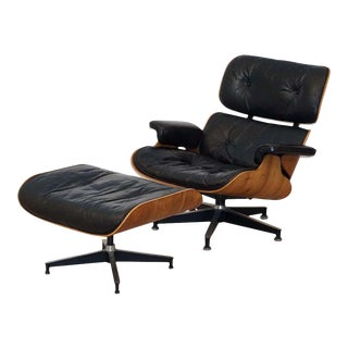 Vintage Charles and Ray Eames Rosewood Lounge Chair With Ottoman For Sale