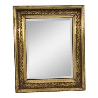 Antique Gilt Wood Framed Beveled Mirror For Sale