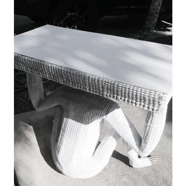 1970s Mario Torres Lopez Vintage Extra Large White Wicker Monkey Hall Console Table For Sale - Image 5 of 13