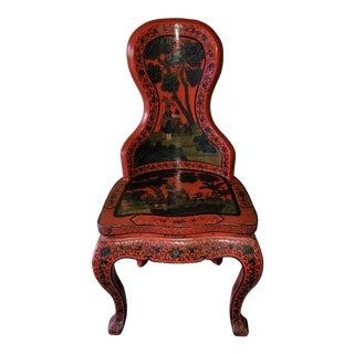 Early 20th Century Chinese Cinnabar Red Lacquered Chinoiserie Chair For Sale