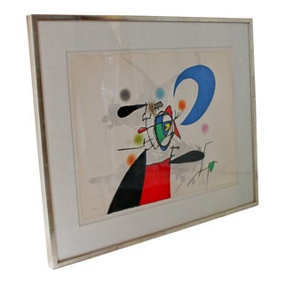 1973 Mid-Century Modern Signed Numbered La Megere Et La Lune by Joan Miro 22/50 For Sale