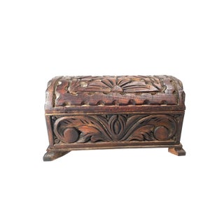Vintage Mid Century Hand Made Solid Wood Mini Treasure Chest Box For Sale