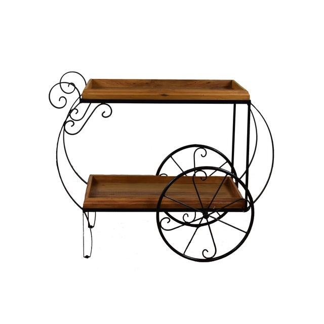 Rustic Bar Cart - Reclaimed Wood & Wrought Iron - Image 3 of 5