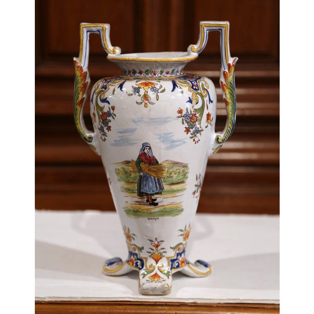 Late 19th Century 19th Century French Hand-Painted Ceramic Vase With Handles From Rouen Normandy For Sale - Image 5 of 11