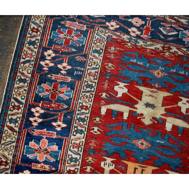"""Late 19th Century 1880s Antique Handmade Caucasian Shirvan Rug- 4'4"""" X 8'9"""" For Sale - Image 5 of 10"""