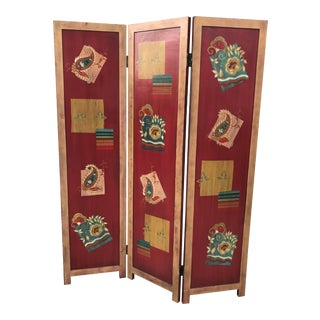 Modern 3 Panel Lacquered Wood Screen For Sale