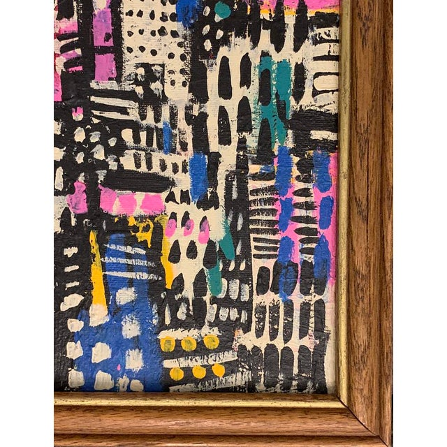 Contemporary Patchwork Style Acrylic Painting, Framed For Sale - Image 4 of 4