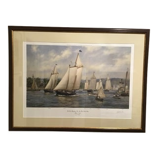 "1994 Framed Signed 102/500 A. D. Blake Lithograph, ""The First Regatta of the New York Yacht Club"" For Sale"