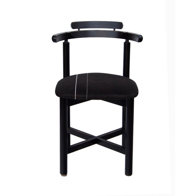 Wood Set of 3 Danish Dining Chairs With Striped Seats For Sale - Image 7 of 12