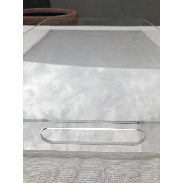 Large Lucite Tray With Cutout Handles For Sale - Image 4 of 12