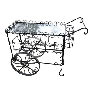 1970s Vintage Salterini Style Iron Bar Cart** For Sale