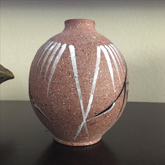 Mid Century Modern Abstract Hand Painted Vase - Image 6 of 8