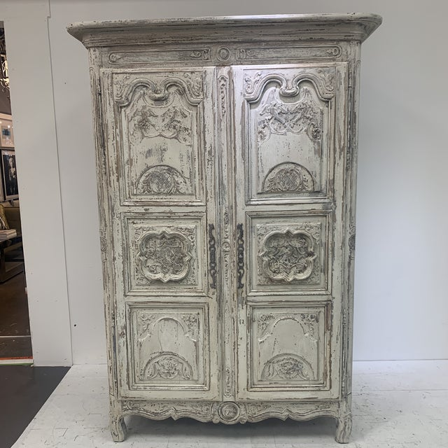Up for sale is a 19th Century French 2 Door armoire in an updated painted finish.