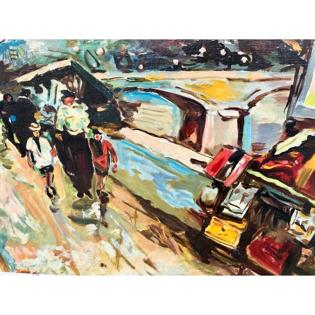 1960s Vintage Bridge, Street, Seine River - France Oil Painting For Sale - Image 4 of 9