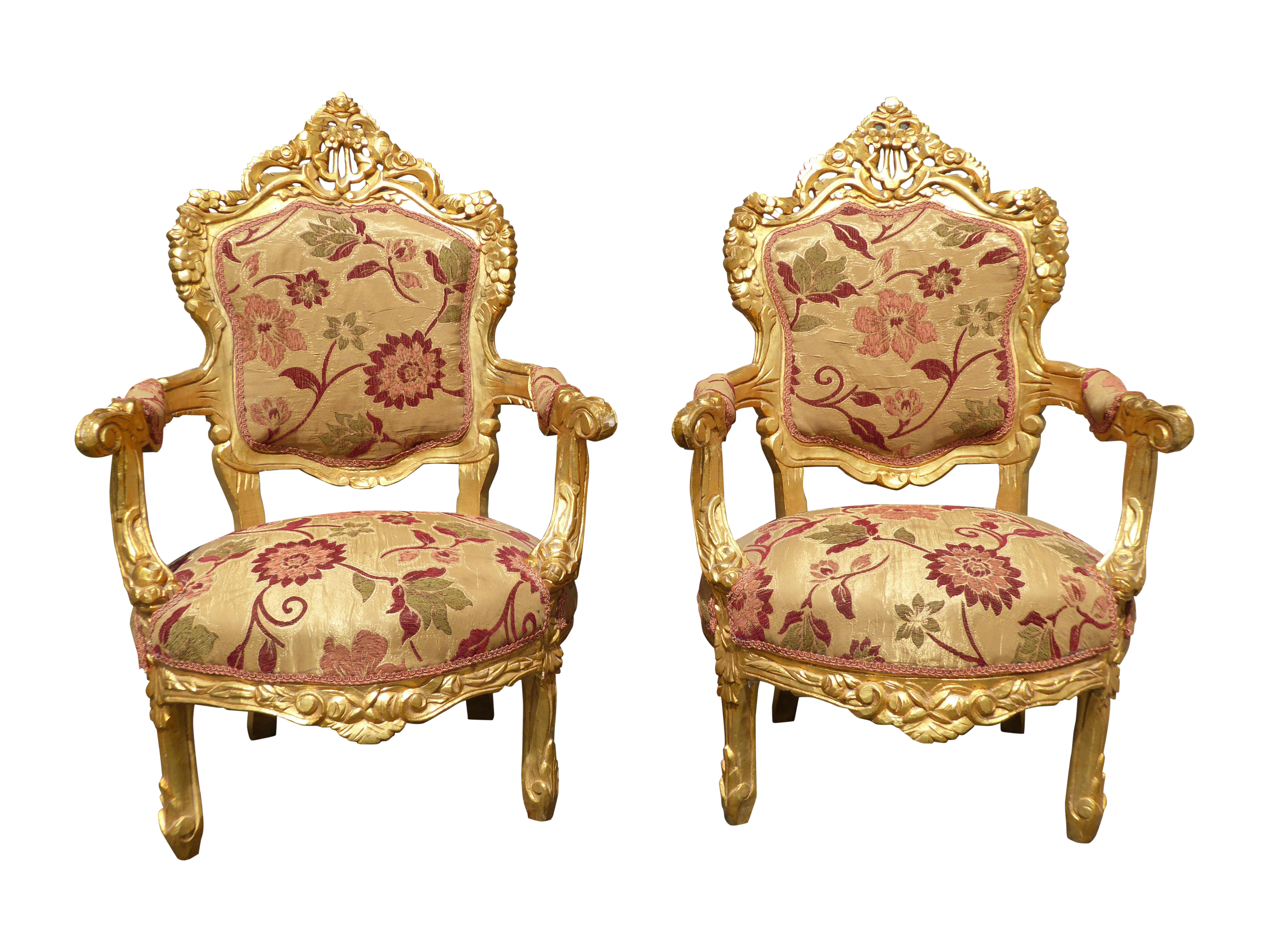 High Quality French Provincial Rococo Louis XV Gold Chairs   2   Image 1 Of 11