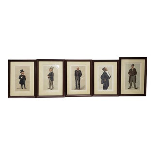 "Framed 19th Century Vanity Fair ""Spy"" Prints C.1890s - Set of 5 For Sale"