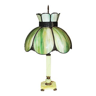 Slag-Glass Lamp For Sale
