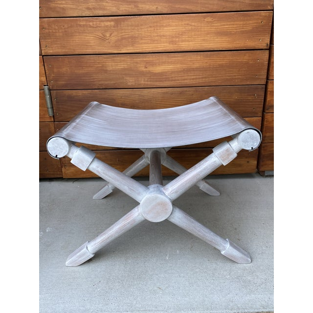 Mid-Century Modern Cerused Finish X-Bench - a Pair For Sale - Image 11 of 13