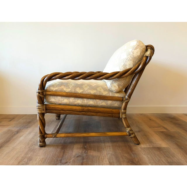 1980s Vintage McGuire Braided Rattan Chair For Sale - Image 5 of 13