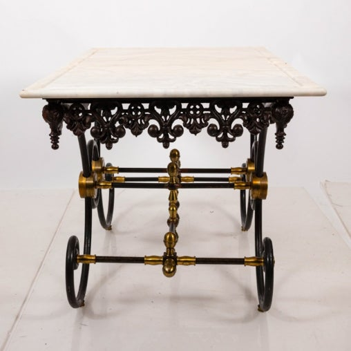 French French Marble Top Bakers Table For Sale - Image 3 of 7