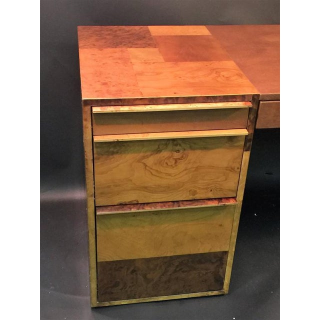 Paul Evans PAUL EVANS PATCHWORK BURLED WOOD AND LEATHER DESK For Sale - Image 4 of 10