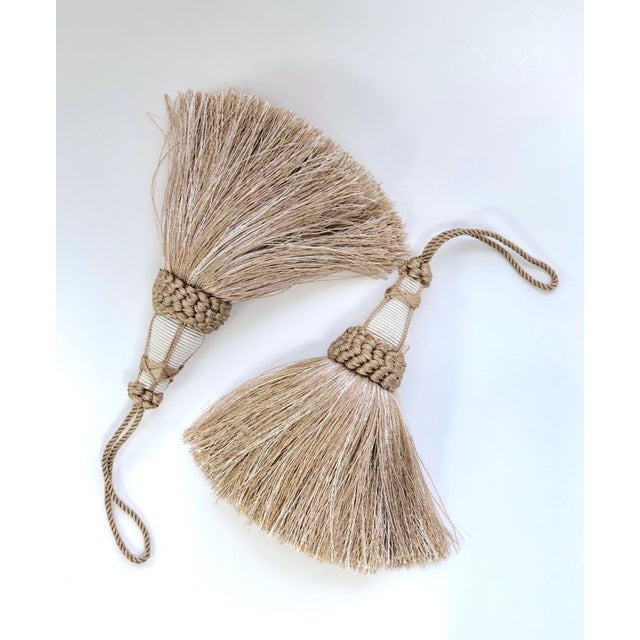 Tan and White Key Tassel With Looped Ruche Trim For Sale - Image 9 of 10