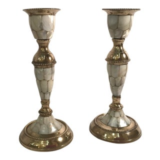 Mid-Century Modern Mother of Pearl and Brass Candlesticks - a Pair For Sale