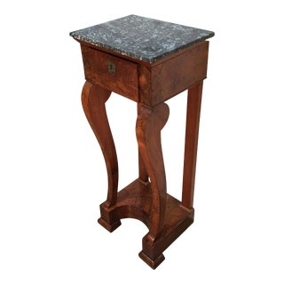 Early 19th Century French Charles X Mahogany Table with Marble Top For Sale