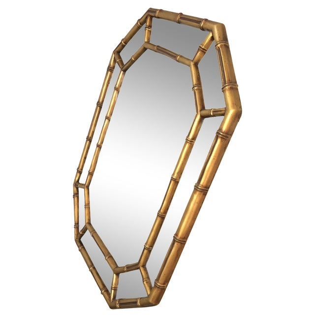 Vintage Gold Bamboo Mirror - Image 1 of 10