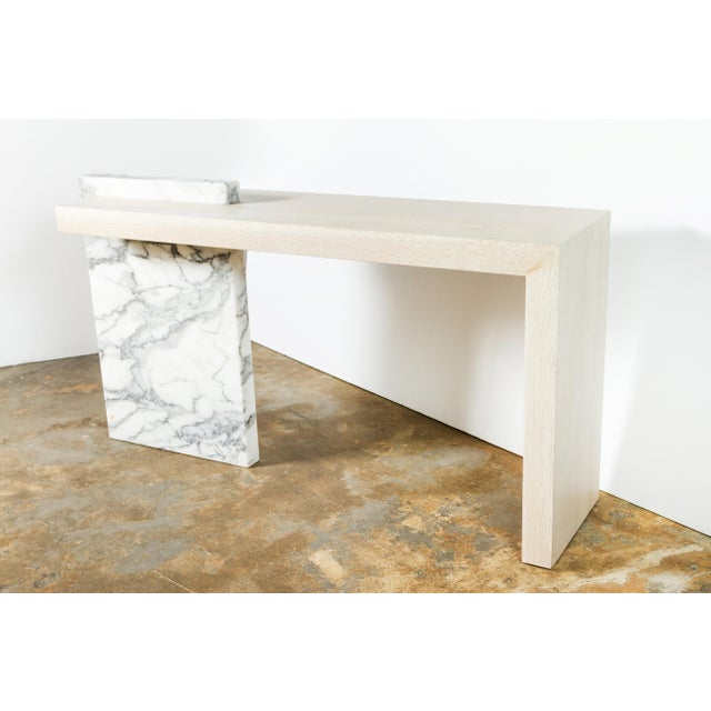 Not Yet Made - Made To Order Paul Marra Marble and Bleached Oak Console For Sale - Image 5 of 11