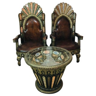 1970s Vintage Leather Brass, Natural Stones and Camel Bone Inlaid Chairs & Table For Sale