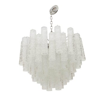 Mid-Century Venini Textured Glass Tube Chandelier For Sale