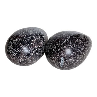 Vintage Dark Gray and White Stone Eggs - A Pair For Sale