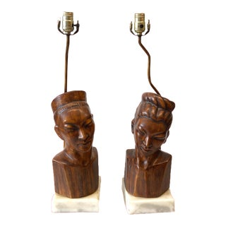 James Mont Style Ceramic Heads Table Lamps on Marble Bases - a Pair For Sale