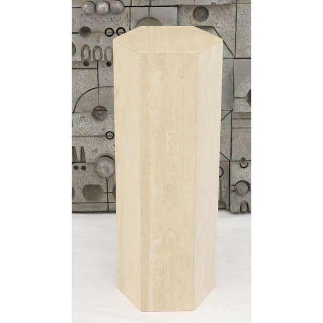 1970s Mid-Century Modern Travertine Marble Tall Tower Shape Table Pedestal For Sale - Image 5 of 13