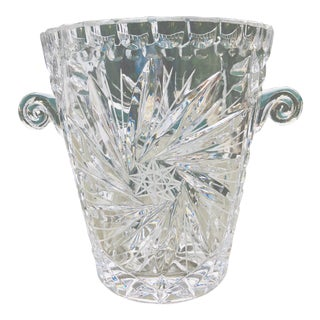 Antique American Brilliant Cut Glass Ice or Wine Bucket For Sale