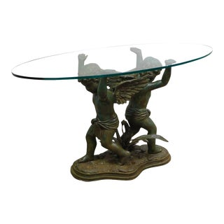 Renaissance Style Figural Bronze Glass Top Console Table with Cherubs Signed Morean For Sale