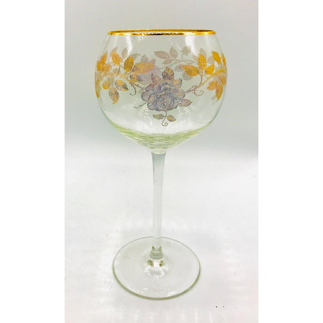 Pink Early 20th Century Antique French Baccarat Gold Encrusted Needle Etch Crystal Hock Glasses- Set of 6 For Sale - Image 8 of 13