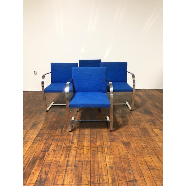 Metal 1970s Original Mies Van Der Rohe for Knoll Solid Steel Flat Bar Brno Dining Chairs - Set of 4 For Sale - Image 7 of 13