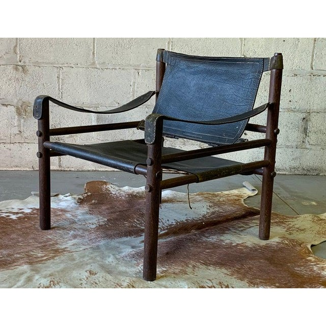"""An authentic Arne Norell safari """"Sirocco"""" chair, designed by Arne Norell around 1964 and released by Norell Möbel, in..."""