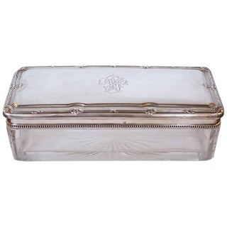 Early 19th Century Antique .950 Silver Lidded Crystal Box For Sale