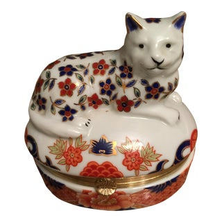 Blue & Orange Cat Trinket Box