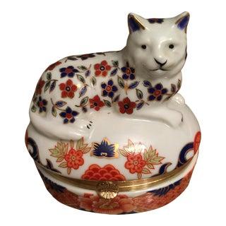 Blue & Orange Cat Trinket Box