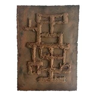 Brutalist Abstract Wall Art Iron Sculpture